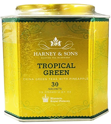 Harney & Sons Tropical Green Tea Tin - Handpicked China Green Teas with Pineapple - 2.67 Ounces, 30 Sachets - Harney And Sons Green Tea Tea