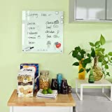 Haotian Glass Magnetic Home/Office Memo Board, Notice Board with Magnets and Magnetic Eraser, 45x45cm, FRG45