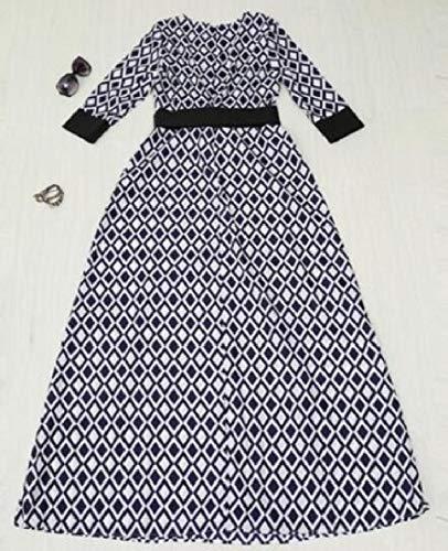 Qianqian-au Femmes 3/4 Manches Slim Robes Formelles Musulmanes Maxi Chemise De Nuit Flowy Noir