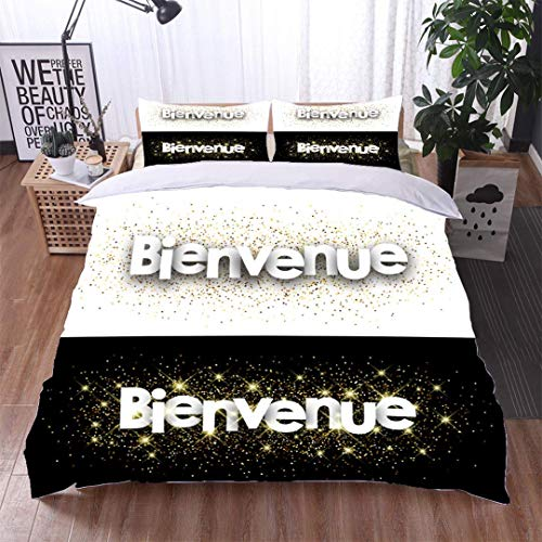 VROSELV-HOME Full Queen Duvet Cover Sets,Welcome Paper Banner,Soft,Breathable,Hypoallergenic,Kids Bedding-Does Not Shrink or Wrinkle ()