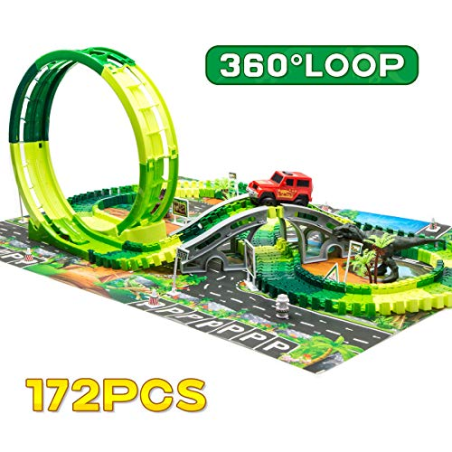 Dinosaur Race Track Toys Set -Single Loop Jurassic World Train Track Playset with a 3D Dinosaur Playmat,172 pcs Flexible Tracks and Dino Accessories. (Race Track)