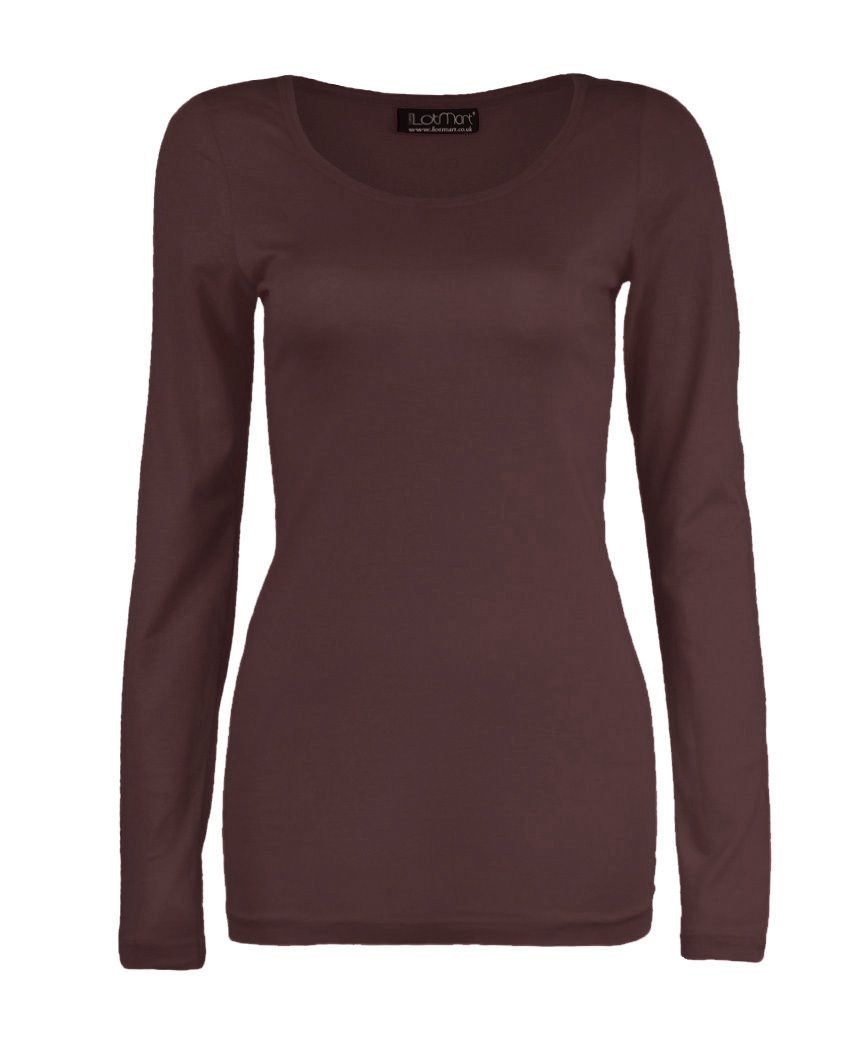 AHR_Manchester_LTD Z&H Ladies Womens Plain Long Sleeve Round Neck Top Basic T Shirt Layering Plus Sizes UK 8-26