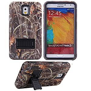 Note 3 Case,Samsung Note 3 Hybrid Case,Samsung Galaxy Note 3 Case,Ezydigital Carryberry Note 3 Case, 3 in 1 Hybrid Case Cover with Kick-Stand for Samsung Galaxy Note 3 III N9000 (AT&T, Verizon, Sprint, T-Mobile and All Versions Compatible)-Straw Grass Mossy Design