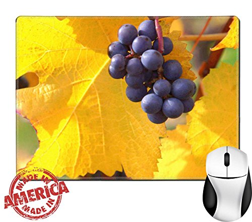 "Luxlady Natural Rubber Mouse Pad/Mat with Stitched Edges 9.8"" x 7.9"" IMAGE ID: 25215295 Pinot Noir Grapes Against Yellow Leaves - Edge Pinot"