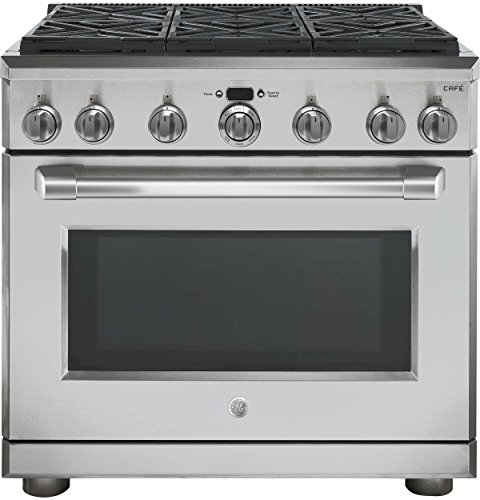 GE Cafe CGY366SELSS 36 Inch Freestanding Gas Range with 6 Burners, Sealed Cooktop, 6.2 cu. ft. Primary Oven Capacity, in Stainless Steel