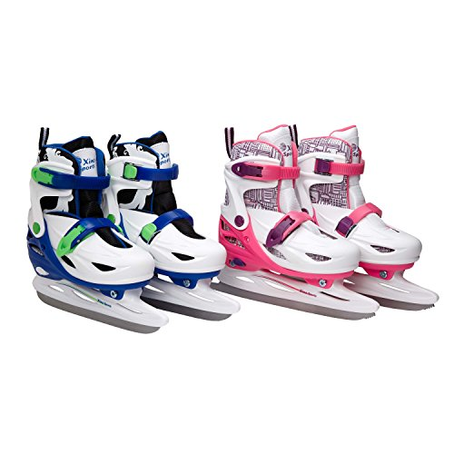 Premium Adjustable Ice Skates for Boys and Girls, Two Awesome Colors Blue and Pink, Super Comfortable Padding and Reinforced Ankle Support, Fun to Skate!