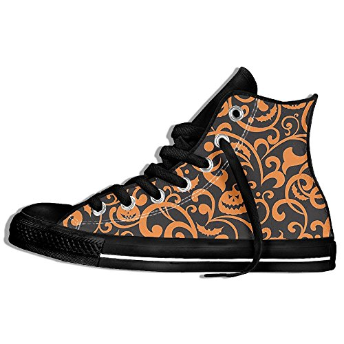 FAIRY Classic Lace Up High Top Canvas Shoes Halloween Pumpkin Floral Sneaker For Men Women