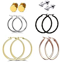 Stainless-Steel Pierced Large Hoop Earrings Set-Rose Gold/Silver/Black Big Oval Round for Women