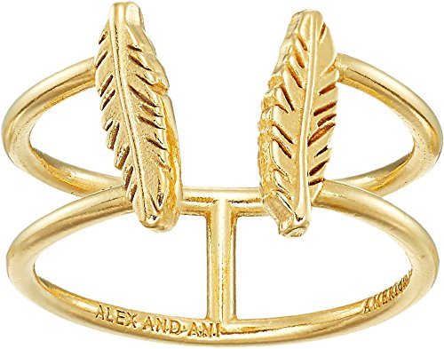 Alex and Ani Women's Feather Ring 14kt Gold Plated One Size (Plated Gold Justice)