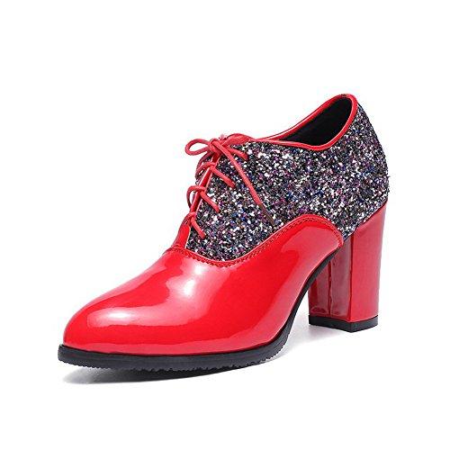 Amoonyfashion Femmes Hauts Talons Couleurs Assorties Lacets Jusquà Bout Fermé Pompes-chaussures Rouges
