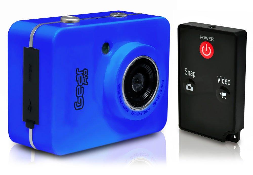 Gear Pro HD 1080p Action Cam - Hi-Res Digital Camera/Camcorder with Full HD Video, 12.0 Mega Pixel Camera, 2.4'' Touch Screen (Blue)