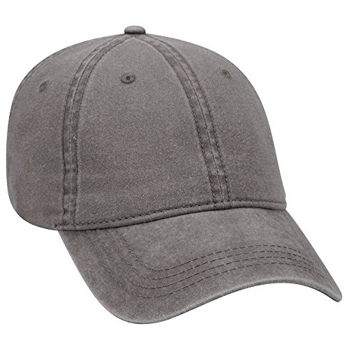 Cotton Twill Pigment (Product of Ottocap 6 Panel Low Profile Garment Washed Pigment Dyed Superior Cotton Twill Cap -Char. Gray [Wholesale Price on Bulk])