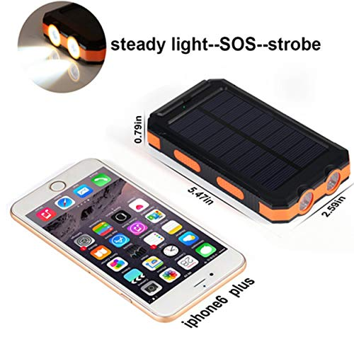 Bysionics Solar Phone Charger,Portable Charger Solar Charger Power Bank 12000mah External Backup Battery Pack Dual USB with 2LED Light Carabiner and Compass for Your Smartphones and More (Orange) by Bysionics (Image #4)