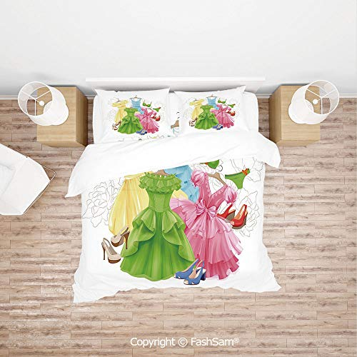 FashSam 4 Piece Bedding Sets Breathable Princess Outfits Bikini Shoes Wardrobe Party Costumes Girls Room Decor for Home(Queen)