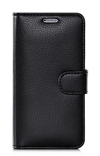 S6 Edge Case, Galaxy S6 Edge Case, FYY Premium Leather Flip Case Stand Cover with Card Slots and Note Holder for Samsung Galaxy S6 Edge Black