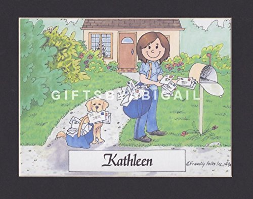 Mail Carrier Gift Personalized Custom Cartoon Print 8x10, 9x12 Magnet or Keychain