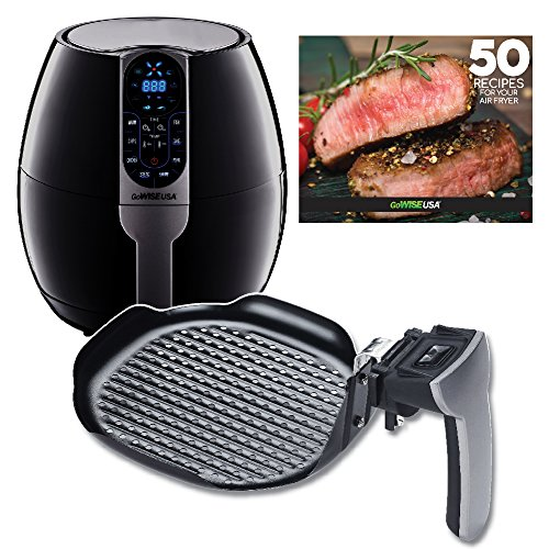 GoWISE USA 3.7-Quart Air Fryer w/8 Cook Presets (Black + Grill Pan) - Extra Deep Roasting Pan