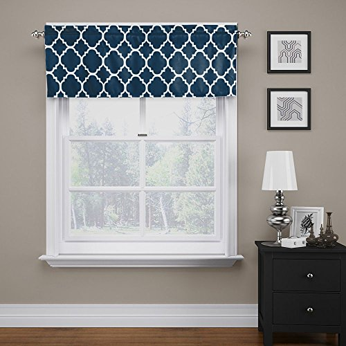 FlamingoP Moroccan Navy Valance Curtain Extra Wide and Short Window Treatment for for Kitchen Living Dining Room Bathroom Kids Girl Baby Nursery Bedroom 52