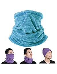 Long Neck Warmer Face Mask Fleece Neck Gaiter Cold Weather Winter Ski Running (Cyan)