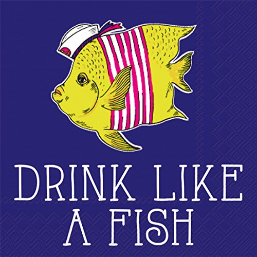 Ideal Home Range 20-Count Rosanne Beck Boho Animals Paper Cocktail Napkins, Drink Like a Fish by Boston International