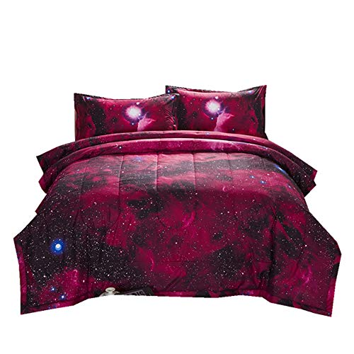 NTBED Galaxy Comforter Set Full Red Sky Oil Printing Outer Space Reversible Quilt Bedding Sets for Teens Boys Girls (xk001, Full)