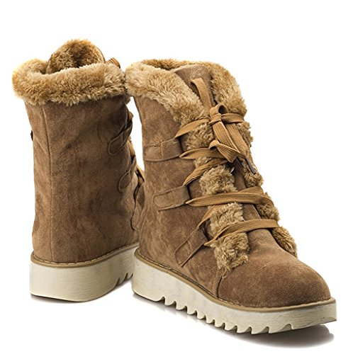 Maybest Womens Autumn Winter Flat Mid Calf Boots Warm Fur Snow Boots Lace-up Shoes Martin Stivali Color Kaki