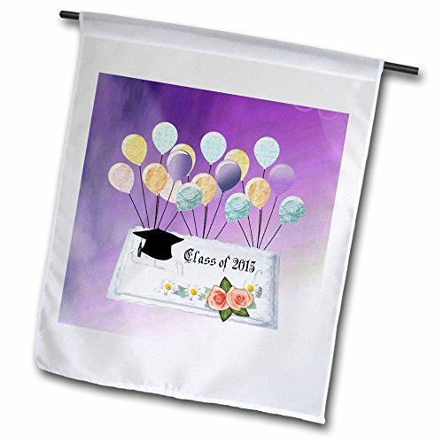 Beverly Turner Graduation Design - Graduation Class of 2015 Cake with Cap, Flowers, and Balloons, Purple - 12 x 18 inch Garden Flag (fl_212737_1)