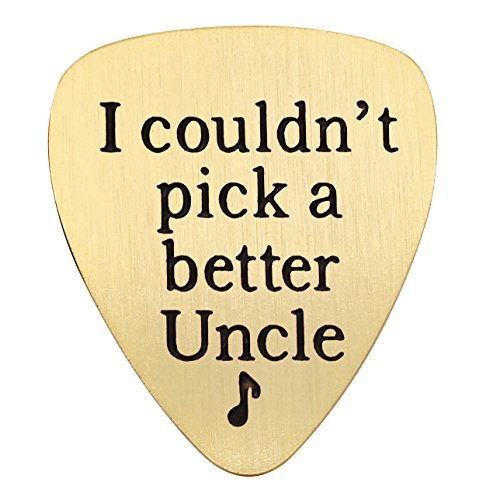 lauhonmin Uncle Gifts Guitar Pick for Best Uncle - I Couldn't Pick a Better Uncle Charm Pendant Stainless Steel (B Gold)