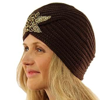 Ladies Winter Warm Sparkle Floral Turban Soft Knit Beanie Skull Hat Cap Brown