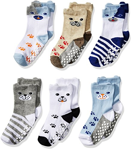 Jefferies Socks Boys Toddler Non-Skid Puppy Dog Socks 6 Pair Pack