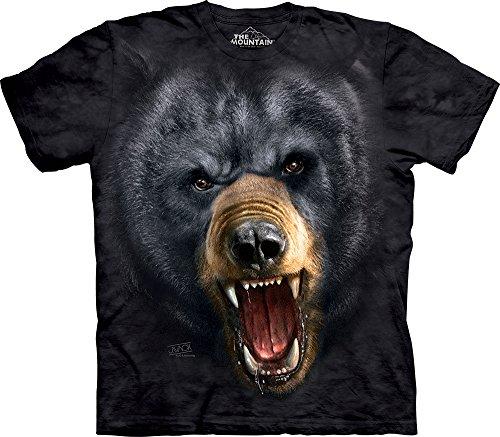 Bear Mens T-shirt - The Mountain Black Bear Face Adult T-Shirt, Black, Large