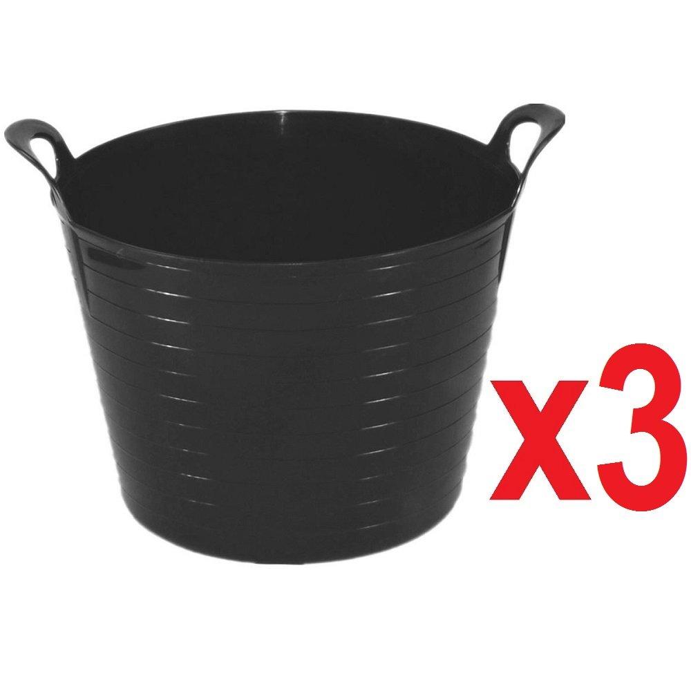 3 x 14 Litre Flexi Tub Garden Home Flexible Colour Rubber Storage Container Bucket Polyethylene Flex Tub MADE IN U.K. Sky Blue