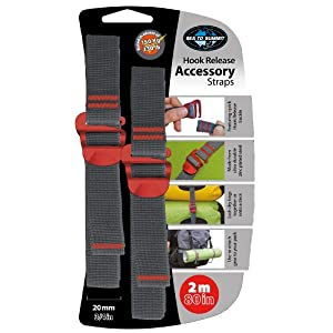 """Sea to Summit Accessory Strap with Hook Release pair (20MM / 3/4"""" Webbing by 2M Long) Color May Vary"""