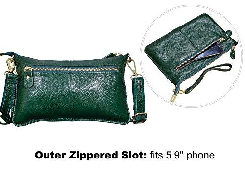 Green Wristlet Bag Leather Womens Small Purse with Crossbody Beurlike Clutch Wallet zC6Z4wxvZq