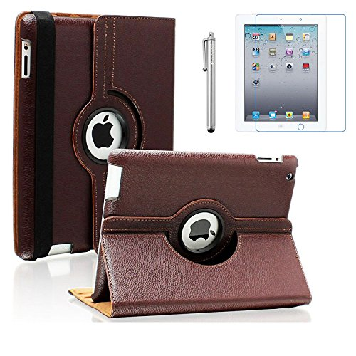 AiSMei Case for iPad 4 (2012), Rotating Stand Case Cover for 9.7-inch Apple iPad A1395, A1396, A1397, A1403, A1416, A1430, A1458, A1459, A1460, Bonus Stylus Film, Brown