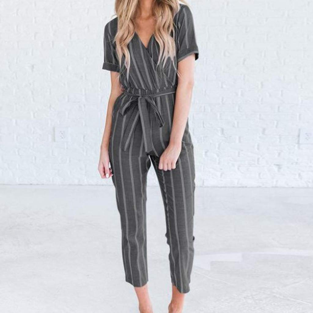 Womens Elegant Short Sleeve Deep V-Neck Jumpsuit Rompers Striped High Rise Baggy Cropped Pants Lightweight Breathable Summer Lounge Playsuit with Belt