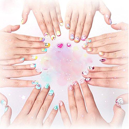 RaiFu 子供DIYネイルアートキットネイルパッチネイルステッカーセット女の子のための装飾的な爪のおもちゃ