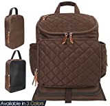 Quilted Diaper Bag Backpack Baby Nappy Bags Outdoor Portable Set with Nursing Pad, Stroller Straps, Wet Bag, Thermal Insulatd Bag&Pocket(Brown)