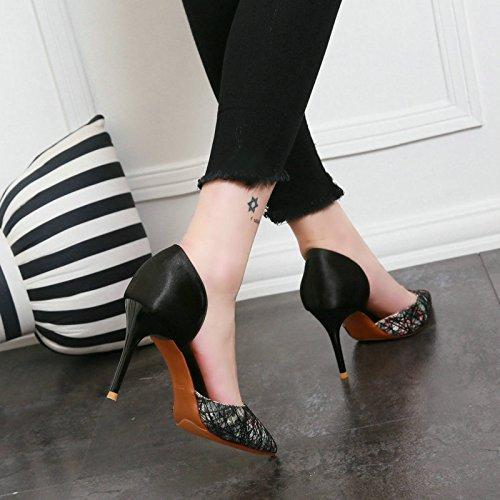 De Zapatos Zapatos De Superficial Punta Color Pies Stilettos Delgada Hueca Moda black Calzados Cubierta De AJUNR Mujer Primavera De SCw11q