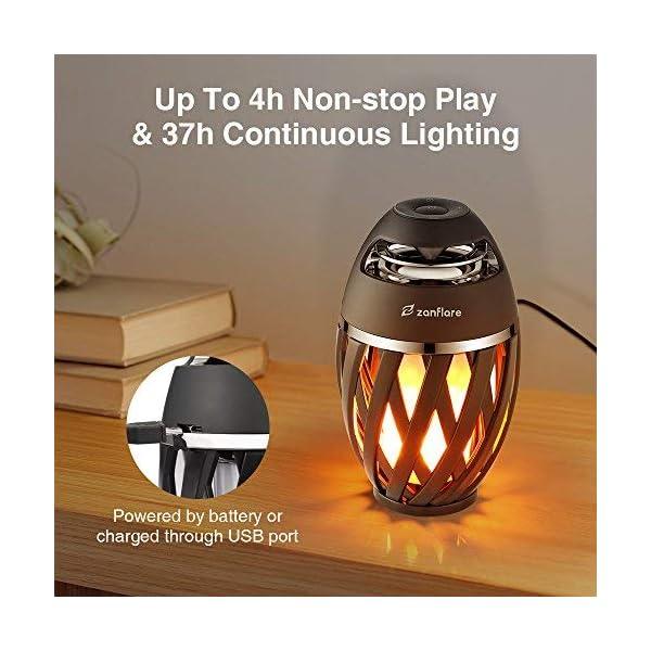 Zanflare Lampe Ambiance avec Effet de Flamme, Enceinte Bluetooth, USB Rechargeable, sans Fil, Etanche IP65 Lampe Design Moderne, Lampe de Chevet avec Haut-Parleur 5