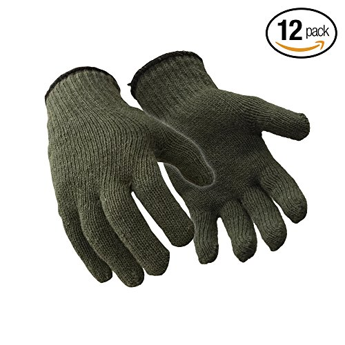 RefrigiWear Military Style Wool Glove Liner, Pack of 12 Pairs (Green, Large/X-Large) - Wool Military Glove