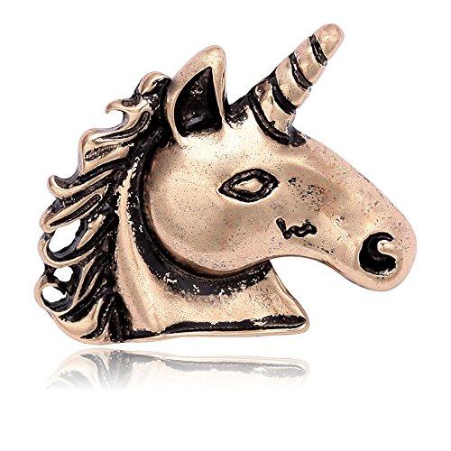 SENFAI Unique Elegant Unicorn Horse Brooch Art Nouveau Suit Lapel Pin Wearable Art (Antique Gold) (Art Style Nouveau Pin)