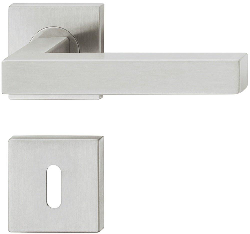 JUVA Design Drü ckergarnitur Edelstahl Tü rbeschlag eckig Tü rgriff auf Rosette fü r Zimmertü ren - LDH 2166 | WC - Badezimmer | Edelstahl matt gebü rstet | 1 Garnitur JUVA®