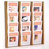 DMD Literature Display, 12 Pocket, Solid Oak and Acrylic Wall Mount Rack, Medium Oak Wood Finish