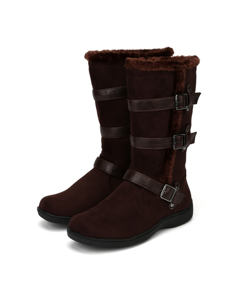 Little Angel Winter-722E Suede Fur Accent Buckle Strap Riding Boot (Little Girl/Big Girl) AF22 - Brown (Size: Little Kid 11) by Little Angel (Image #4)
