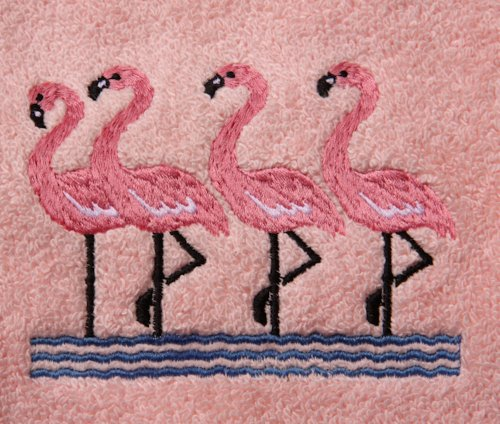 Towels Bath Flamingo - Big Black Horse LLC Bath Towel Set with Embroidered Group of Flamingos - White