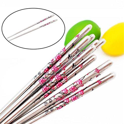 5 Pairs Chinese Chopsticks Plum Flower Pattern Minion Chop Sticks Palillos Chinos No Korean Japanese Chopstick Stainless (Flower Chop Plate)