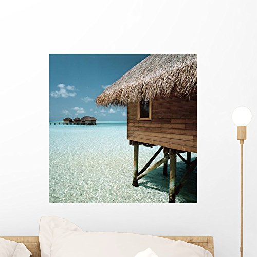 Cabana Raised above Ocean Wall Mural by Wallmonkeys Peel and Stick Graphic (18 in H x 18 in W) - H Hut