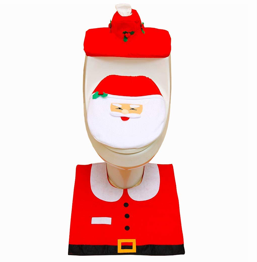 ASOONYUM Christmas Decorations Toilet Seat Santa Cover Tank Lid + Anti-Slip Floor Mats + Tissue Box Case, Funny Xmas Gift for Bathroom - Red and White Set of 3 PCS by ASOONYUM
