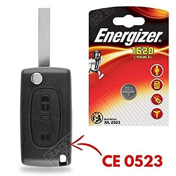 Carcasa para mando a distancia Plip llave Peugeot 107 207 308 307, 407, 807 3008 Partner ✚ pila CR1620 Energizer